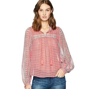 Lucky Brand Printed Peasant Top in Pink/Multi. NWT